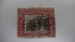 George-Rogers-Clark-Commemorative-Carmine-And-Black-USA-Used-2-Cent-Stamp