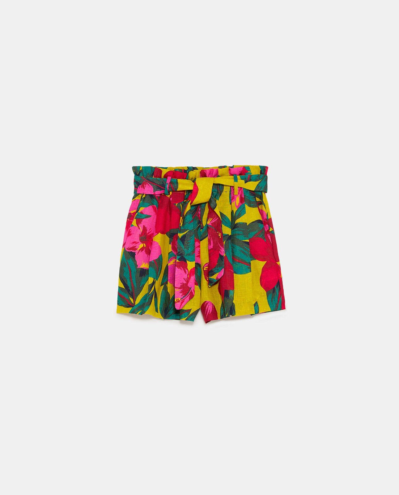 Neuf Zara Lin Imprimé yellow pink Floral Tropical Short Bermuda M 10 6 38