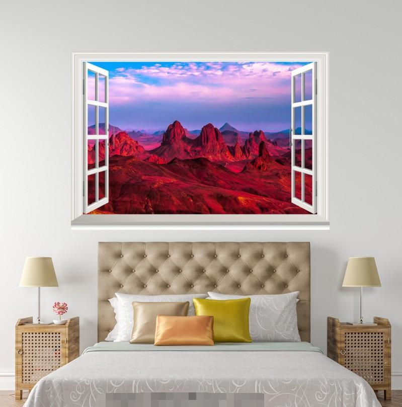 3D ROT Mountain 49 Open Windows WallPaper Murals Wall Print Decal Deco AJ Summer
