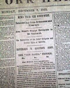 Battle-of-FREDERICKSBURG-VA-Burnside-Close-Yellville-AR-1862-Civil-War-Newspaper
