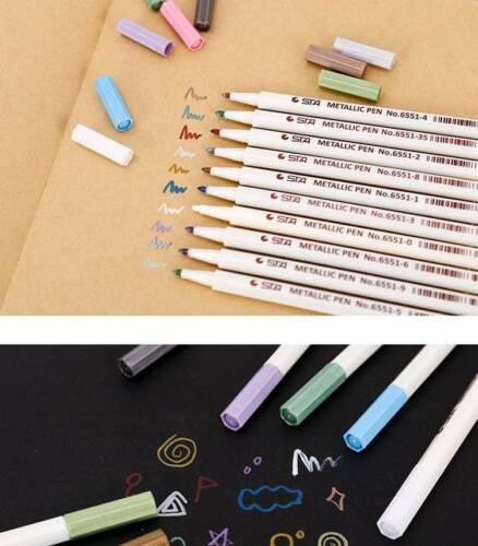 Assorted 10Pcs Metallic Paint Marker Pen Markers Set DIY Calligraphy Art Brush