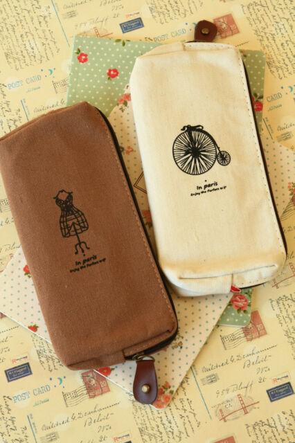 Paris Memory Pen Bag zakka canvas linen zip pouch pencil case brush holder BN
