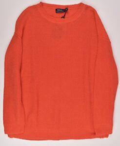 rosso L maglia Polo '100 arancione maglione Ralph taglia lino Womens Lauren 11qan8UwP