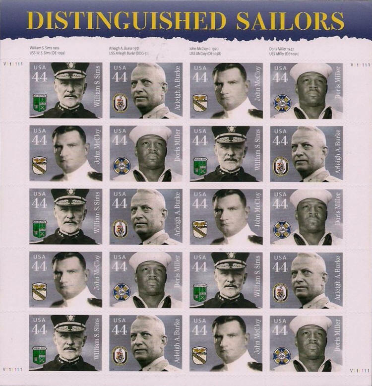 2010 44c Distinguished Sailors, Sheet of 20 Scott 4440-