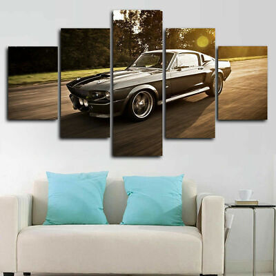 Framed Ford Mustang Eleanor Car Poster Canvas Print Wall Art Decor 5 Piece