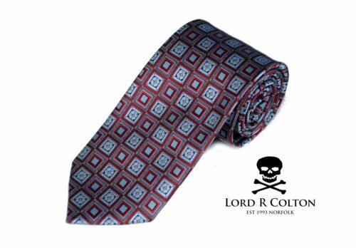 Lord R Colton Studio Tie Red /& Gray Geometric Woven Necktie $95 New