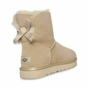 17c710f683f Details about UGG MINI BAILEY BOW II METALLIC DRIFTWOOD SUEDE ANKLE BOOTS  SIZE US 8/UK 6.5 NEW