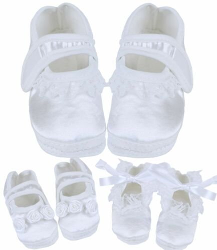 BabyPrem Baby Girls White Christening Booties Shoes Parties Weddings 0-3 m