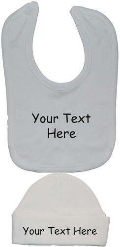 Diseño Personalizado su propio texto de alimentación de Babero Y Gorro sombrero//gorra Recién Nacido A 12 M