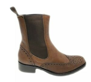 Studio-Pollini-Brown-Leather-Wingtip-Chelsea-Ankle-Boots-US-4-5-Shoes-Eu-35