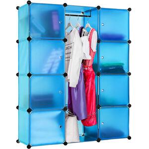 Estanterias-De-Plastico-Modular-Armario-Con-Puertas-Ropero-Azul