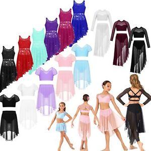 Girl-Dance-Outfit-Ballet-Jazz-Crop-Tops-Skirt-Dancewear-Set-Costume-Aged-3-14Yrs