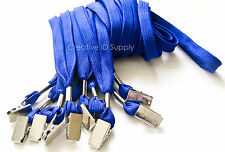 WHOLESALE 100 PCS ROYAL BLUE NECK FLAT LANYARD ID BADGES STRAP WITH BULLDOG CLIP