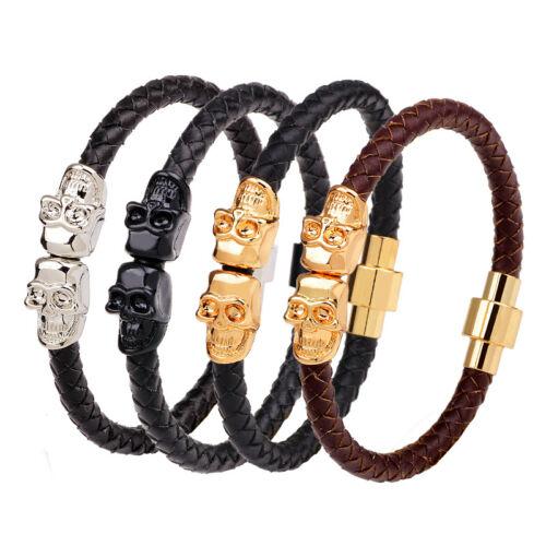 Men/'s Charm Skull Head Braided Genuine Leather Magnetic Bracelet Jewelry Gift