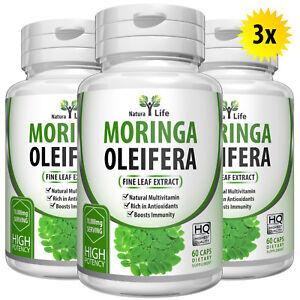 180-Organico-Moringa-Capsule-5000mg-per-capsula-forte-estratto-puro-Foglia-Polvere