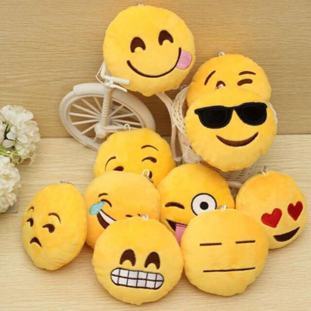Lovely Emoji Smiley Emoticon Soft Stuffed Plush Round Cushion Toy Doll Keychain