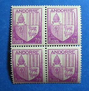 Persevering 1944 Andorra French 70c Scott# 83 Michel # 100 Unused Block Nh Cs27477 Stamps