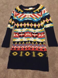 9ee5c8221f Image is loading Womens-Jessica-Simpson-Aztec-Sweater-Dress-Navy-Blue-