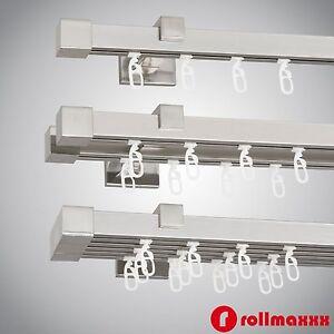 Gardinenstange Vorhangstange 20mm 1-, 2-, 3-läufig Edelstahl Design ...