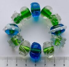 12 x clear, green, blue, rondelle, lampwork  glass beads   48 gms.  39