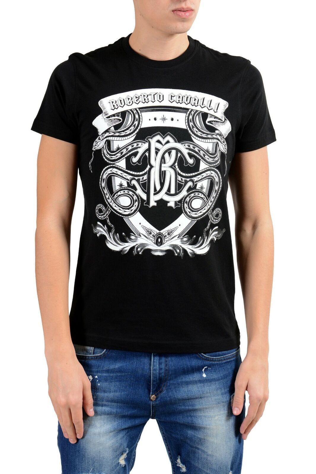 Roberto Cavalli Herren Schwarz Grafik Rundhalsausschnitt T-Shirt GRÖSSE S XL