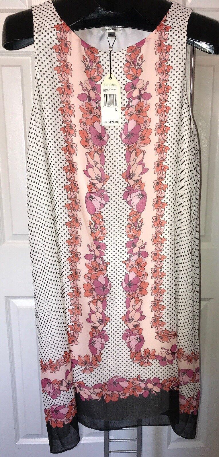 SOPHIE MAX Linda Floral Lightly Lined Sleeveless Shift Dress NWT  128 Sz L NWT