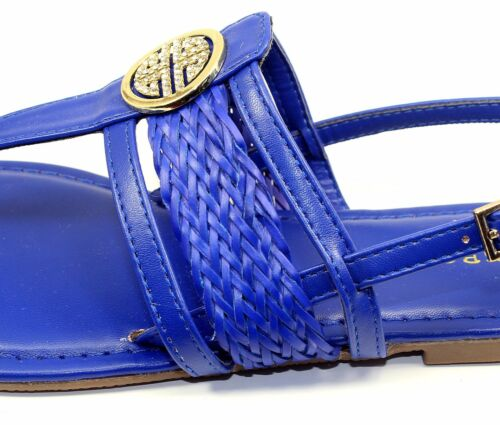 Nadya-15 New Gladiator Buckles Flat Cute Comfort Sandals Party Women Shoes Blue