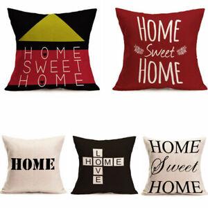 Home Sweet Home Cotton Linen Sofa Pillow Case Waist Cushion Cover Throw Home Dec