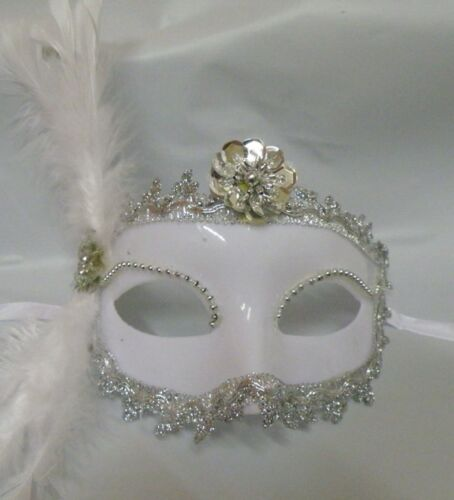 Venetian Face Masquerade Mask White with Silver Trim Express Post Option