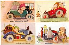 """POSTCARDS (4) BEATRICE MALLET AUTOMOBILE SET TUCK'S """"BREAKING THE RECORD"""""""
