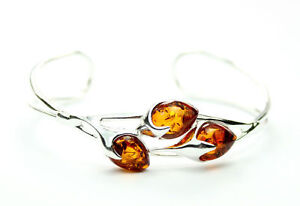 925-Sterling-Silver-Unique-Bangle-with-Genuine-Baltic-Amber-Jewellery-BL0054