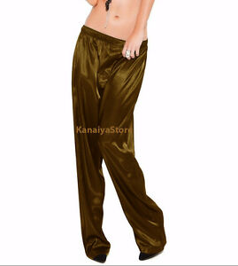 Gold Color Satin Unisex Lounge Sleep Pajama Pants Adult Women Sissy India Maid