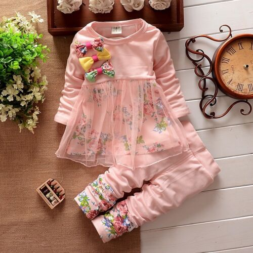 2PC Toddler Baby Girls bowknot Floral T-shirt tops+Pants Kids Clothes Outfit Set