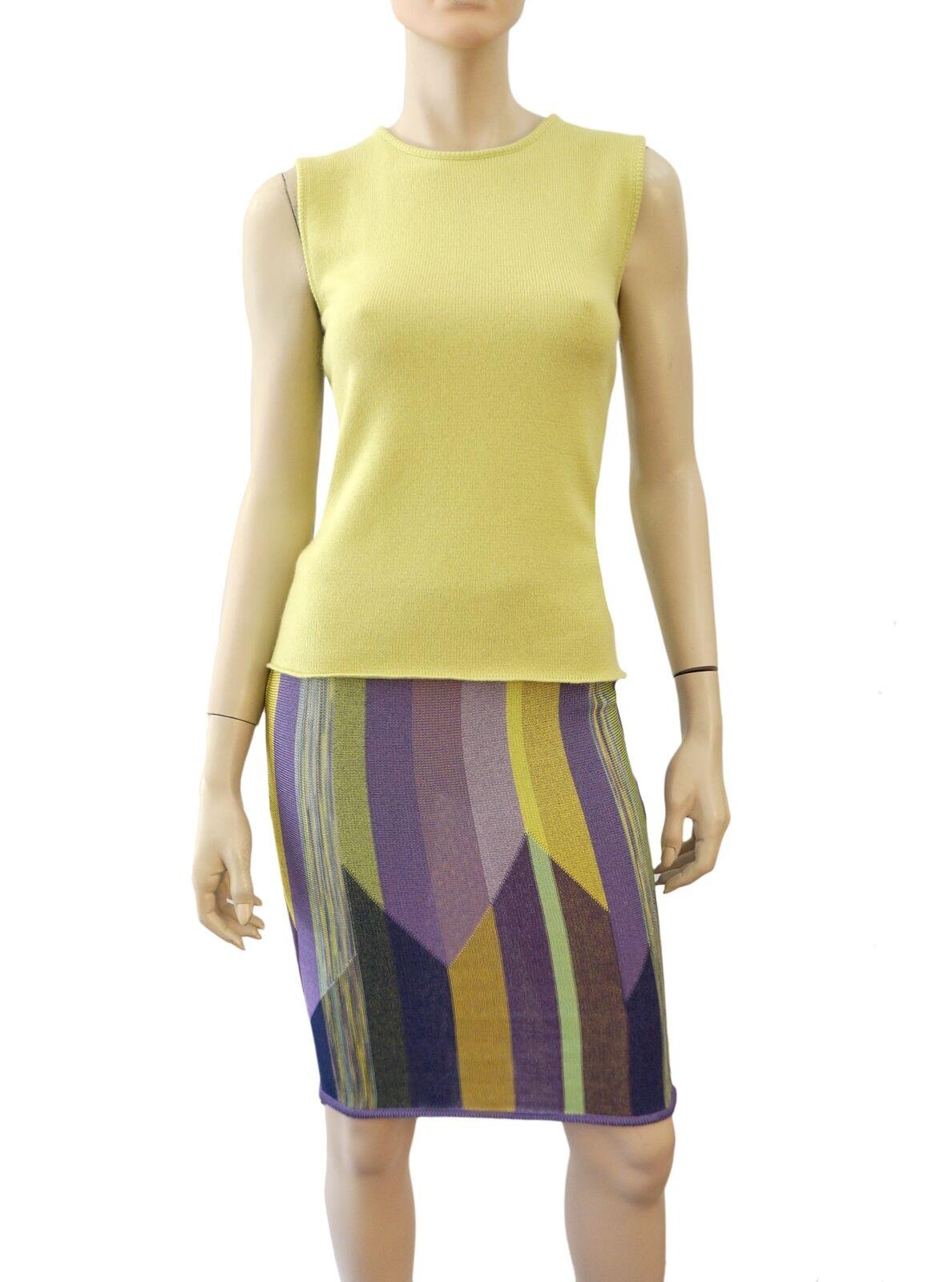 MISSONI orange Label Multicolor Striped Chevron Knit Skirt US 2 4