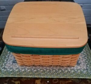 Longaberger-Card-Keeper-Basket-with-Protector-Liner-and-Lid-2001
