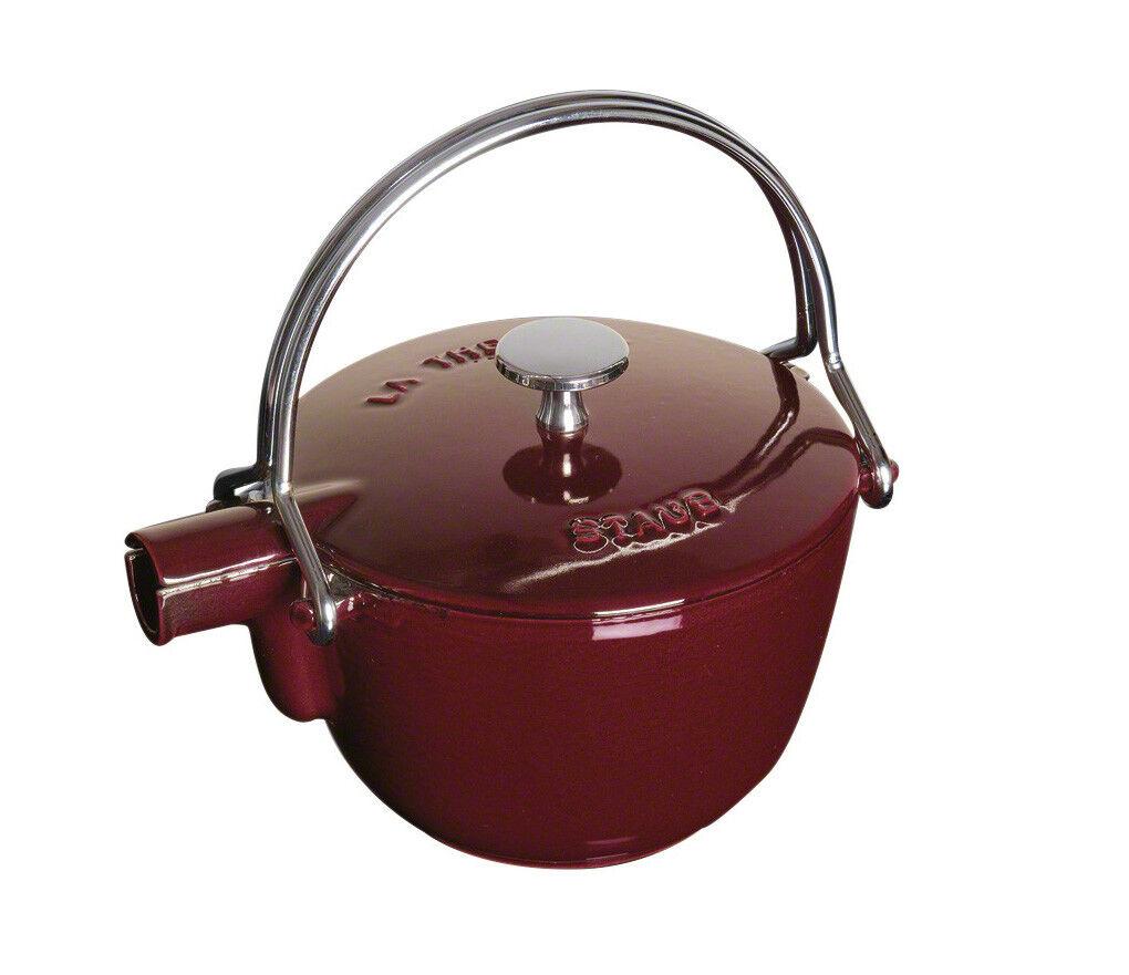 Staub Teekessel Grenadiblackt  rund  16,5 cm Wasserkocher Teekocher Gusseisen