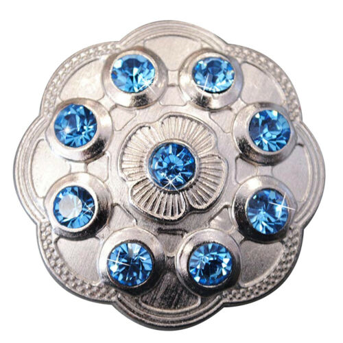 C-TY02 SET OF 2 BLUE CRYSTAL RHINESTONE FLORAL CONCHOS BLING HEADSTALL TACK COWG