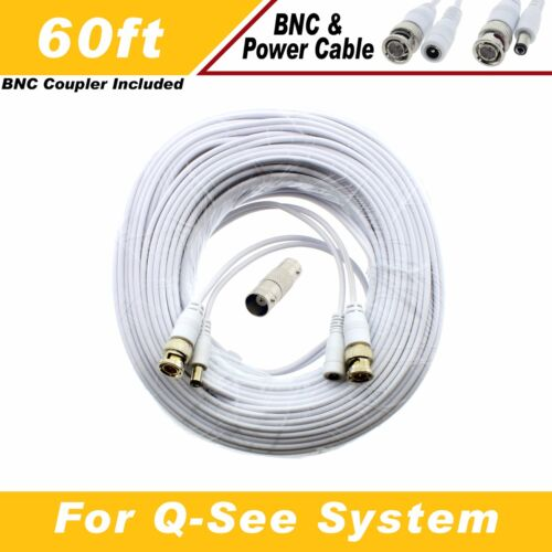 WHITE PREMIUM 60Ft CCTV SURVEILLANCE BNC EXTENSION CABLES FOR Q-SEE SYSTEMS