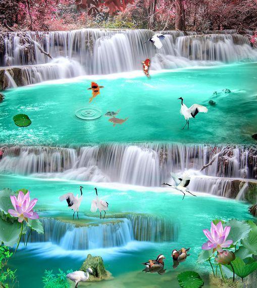 3D Dream Lotus Waterfall Floor WallPaper Murals Wall Print Decal 5D AJ WALLPAPER
