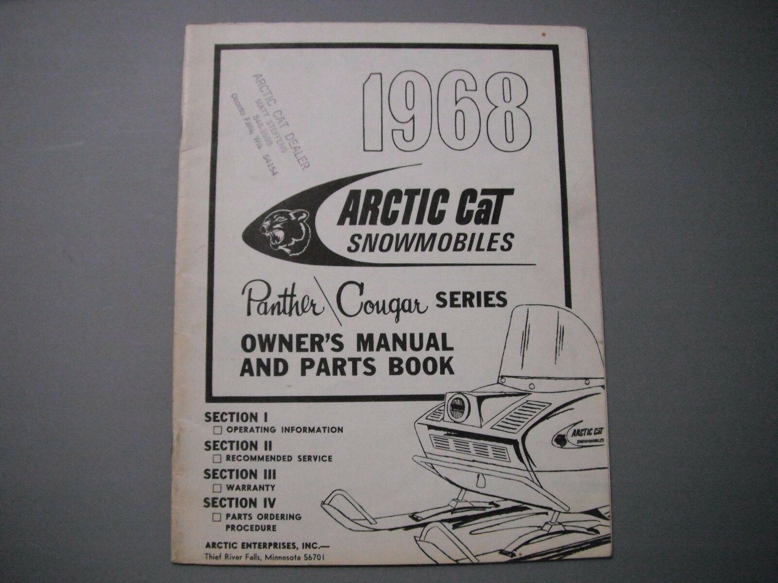 1968 Vintage  Arctic Cat Panther And Cougar Owner's Manual & Parts Book  fashion