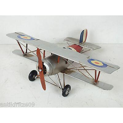 Flugzeug Blechspielzeug silberfarbener Doppeldecker roter Propeller Antik Stil