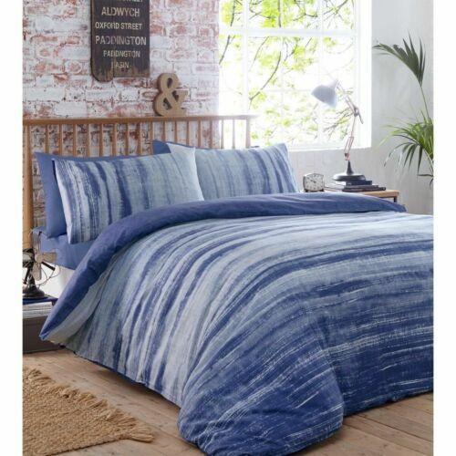 Portfolio Origin Striped Duvet Cover Set Single Double King Blue or Charcoal