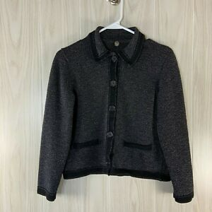 Margaret-O-039-Leary-Cropped-Cardigan-Sweater-Jacket-Women-039-s-Size-S-Small-Black