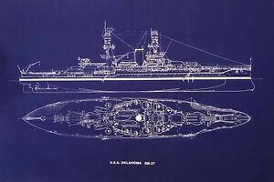 Ships plan battleship uss oklahoma bb 37 ww2 pearl harbor blueprint image is loading ships plan battleship uss oklahoma bb 37 ww2 malvernweather Image collections