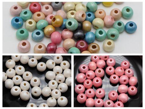 200 Brillant Nacré Lustre Bois Perles 8 mm Espaceur Couleur Pour Choix Bijoux Craft