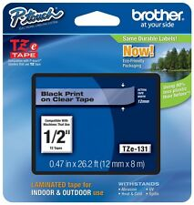 "Brother P Touch 1 2"" 0.47"" Black on Clear Standard Laminated Tape 26.2 Ft. 8m"