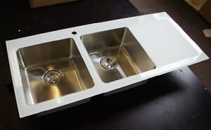 Clearance-Drainer-on-RIGHT-GLASS-Stainless-steel-kitchen-sink-double-bowl