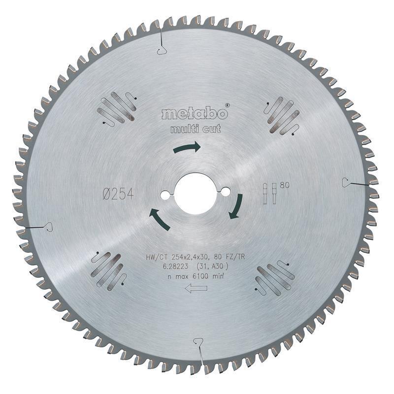 Metabo Kreissägeblatt HW CT 254 x 30 x 2,4 1,8 multi-cut, 80 Zähne, 5° neg.