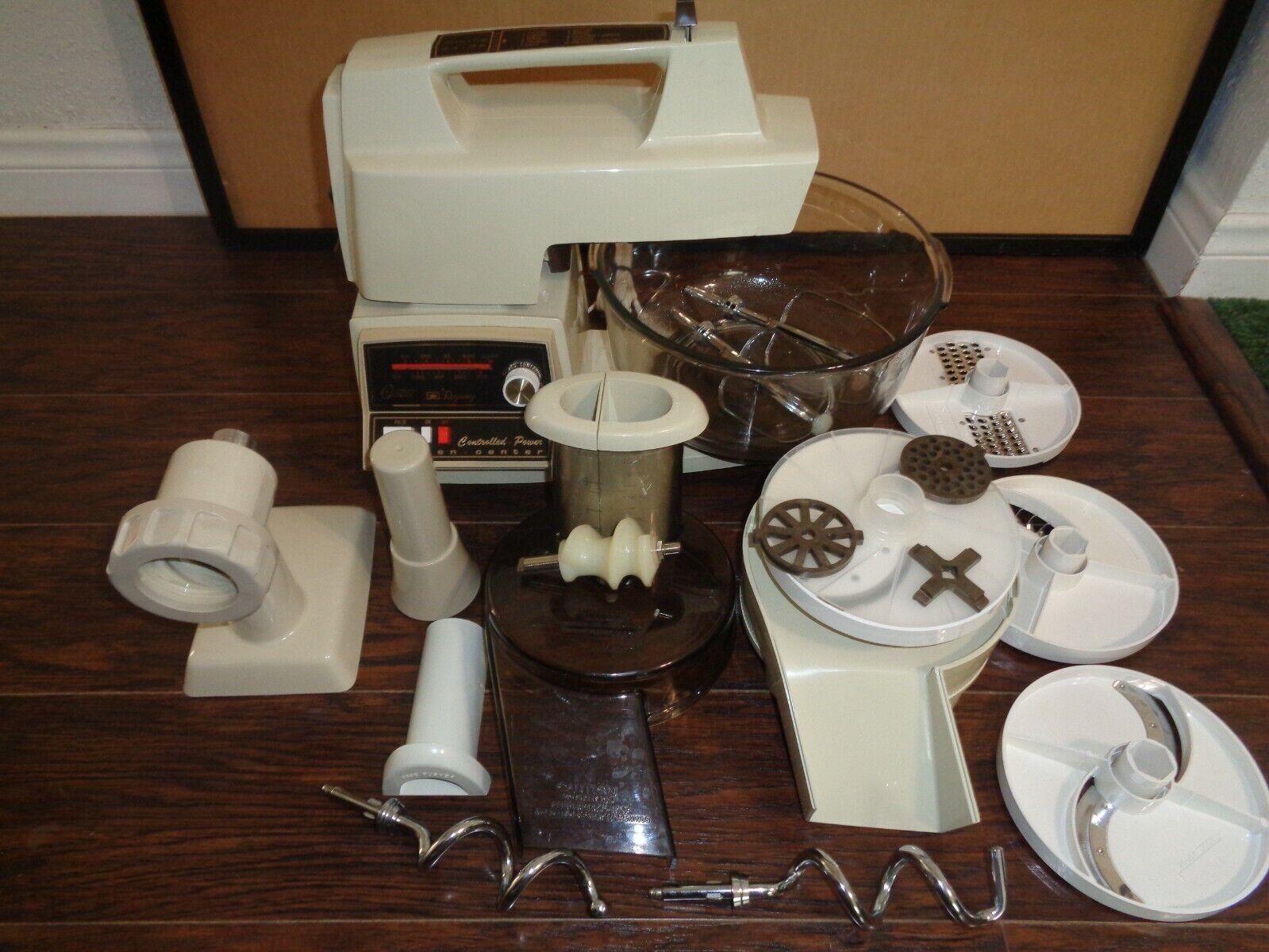 1970 S Vintage Oster Regency Kitchen Center Mixeur Hachoir Trancheuse avec pièces jointes