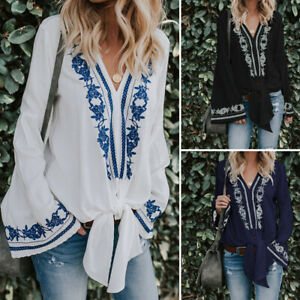 VONDA-Women-Floral-Bell-Sleeve-Casual-Blouse-Shirt-Ethnic-Printed-Cross-Knot-Top